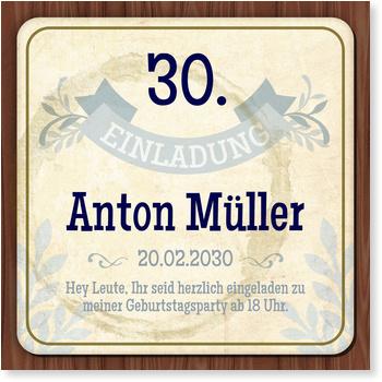 Einladungskarten 30. Geburtstag, Bierdeckel in Blau