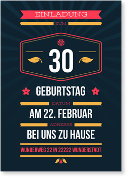 Einladungskarten 30. Geburtstag, Dezenter Schein