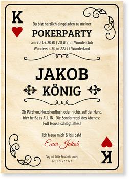 Einladungskarten 30. Geburtstag, Pokerkarte - Mann