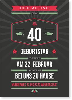 Einladungskarten 40. Geburtstag, Dezenter Schein in Grau