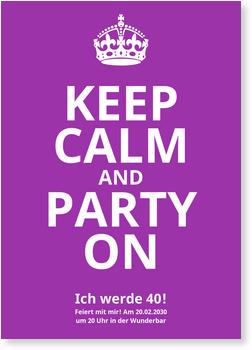 Einladungskarten 40. Geburtstag, Keep Calm in Lila