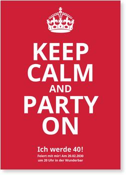 Einladungskarten 40. Geburtstag, Keep Calm