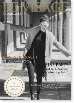 Einladungskarten 40. Geburtstag, Magazin - Le Visage