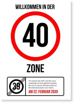Einladungskarten 40. Geburtstag, Partyzone