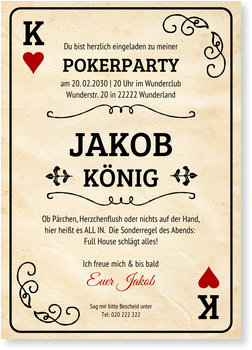 Einladungskarten 40. Geburtstag, Pokerkarte - Mann