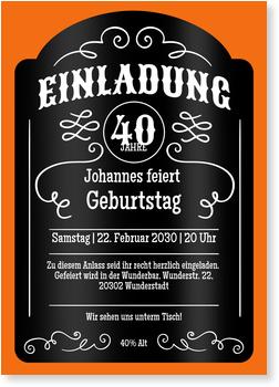 Einladungskarten 40. Geburtstag, Whiskey