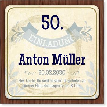 Einladungskarten 50. Geburtstag, Bierdeckel in Blau