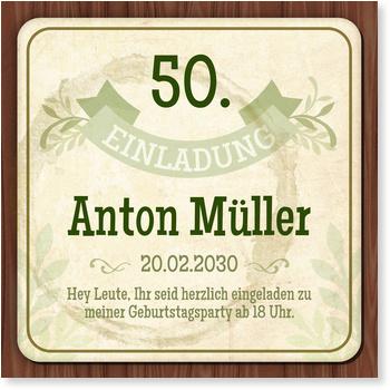 Einladungskarten 50. Geburtstag, Bierdeckel in Grün