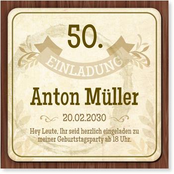 Einladungskarten 50. Geburtstag, Bierdeckel