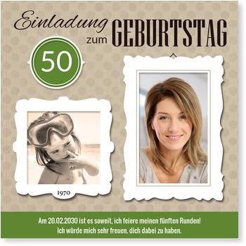 Einladungskarten 50. Geburtstag, Bilderrahmen in Grün