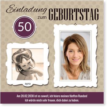 Einladungskarten 50. Geburtstag, Bilderrahmen in Violett
