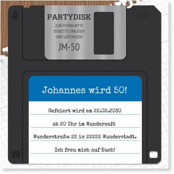 Einladungskarten 50. Geburtstag, Diskette in Blau