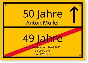 Einladungskarten 50. Geburtstag, Ortsschild - Vollflächig