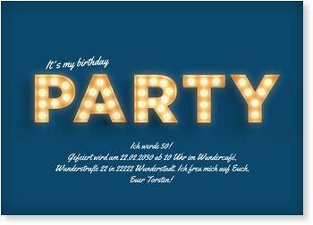 Einladungskarten 50. Geburtstag, Lichtreklame in Blau