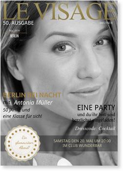 Einladungskarten 50. Geburtstag, Magazin - Le Visage