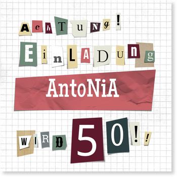 Einladungskarten 50. Geburtstag, Erpresserbrief in Rosé und Vanille