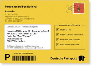 Einladungskarten 50. Geburtstag, Partypost