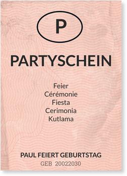 Einladungskarten 50. Geburtstag, Partyschein