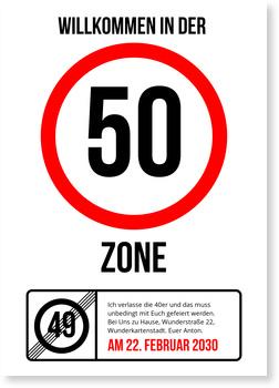 Einladungskarten 50. Geburtstag, Partyzone