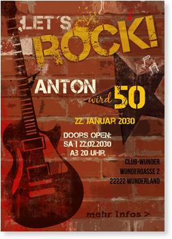 Einladungskarten 50. Geburtstag, Rock'n Roll