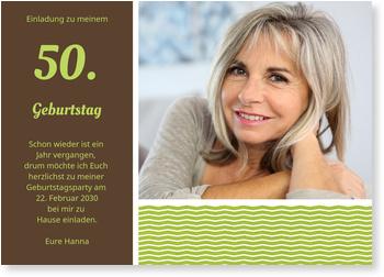 Stilvolle Einladung Einladungskarten 50. Geburtstag
