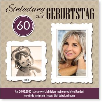 Einladungskarten 60. Geburtstag, Bilderrahmen in Violett