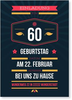 Einladungskarten 60. Geburtstag, Dezenter Schein