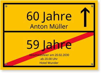Einladungskarten 60. Geburtstag, Ortsschild - Vollflächig