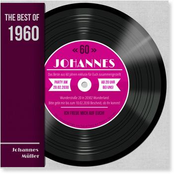 Einladungskarten 60. Geburtstag, Schallplatte in Pink