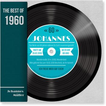 Einladungskarten 60. Geburtstag, Schallplatte