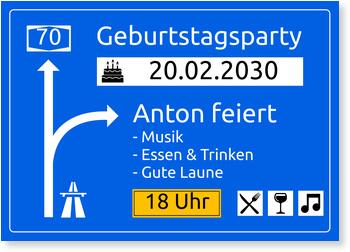Einladungskarten 70. Geburtstag, Autobahnschild