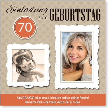 Einladungskarten 70. Geburtstag, Bilderrahmen in Teracotta