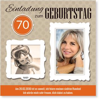 Einladungskarten 70. Geburtstag, Bilderrahmen