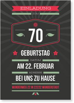 Einladungskarten 70. Geburtstag, Dezenter Schein in Grau