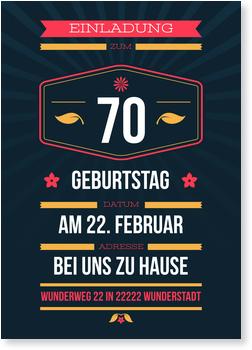 Einladungskarten 70. Geburtstag, Dezenter Schein