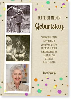 Konfetti Einladungskarten 70. Geburtstag
