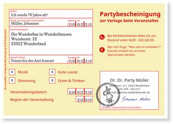 Einladungskarten 70. Geburtstag, Partybescheinigung