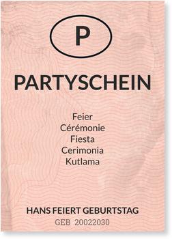 Einladungskarten 70. Geburtstag, Partyschein