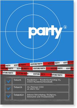 Einladungskarten 70. Geburtstag, Partytatort