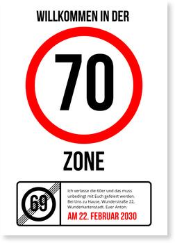 Einladungskarten 70. Geburtstag, Partyzone