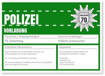 Einladungskarten 70. Geburtstag, Polizeiliche Vorladung in Grün