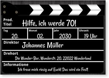 Einladungskarten 70. Geburtstag, Regieklappe