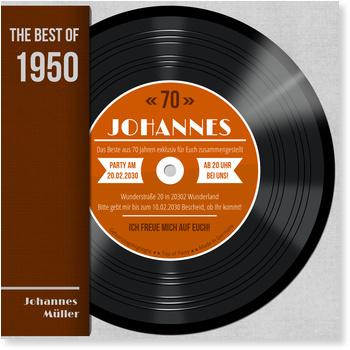 Einladungskarten 70. Geburtstag, Schallplatte in Orange