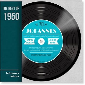 Einladungskarten 70. Geburtstag, Schallplatte