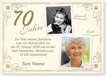 Einladungskarten 70. Geburtstag, Vintage