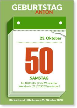 Einladungskarten 50. Geburtstag, Abreißkalender in Grün