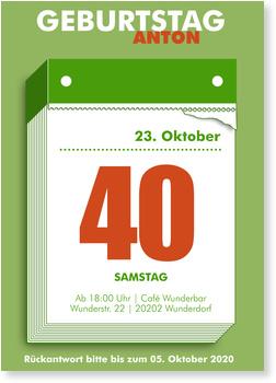 Einladungskarten Geburtstag, Abreißkalender in Grün