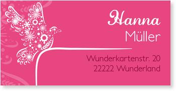 Adressaufkleber Kommunion, Frühlingstaube in Pink