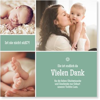 Dankeskarten Geburt, Bildertrio in Türkis