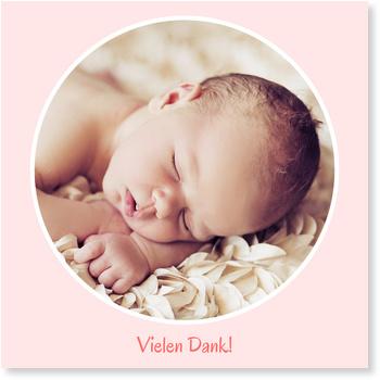 Dankeskarten Geburt, Fenster zum Glück - Rose